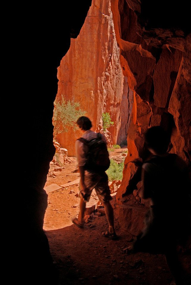 Hikers exit the Supai tunnel, Kaibab Trail.