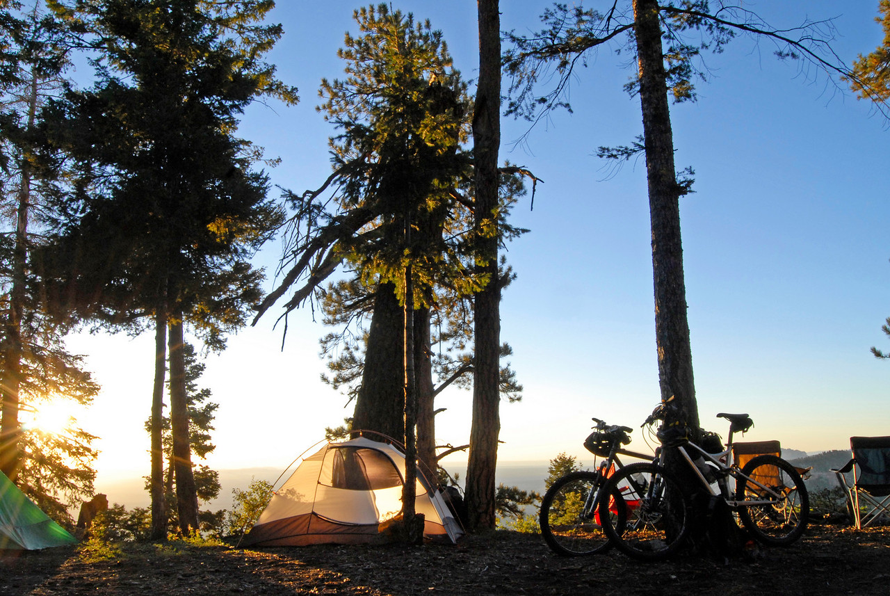 Tents and bikes at camp, East Rim.