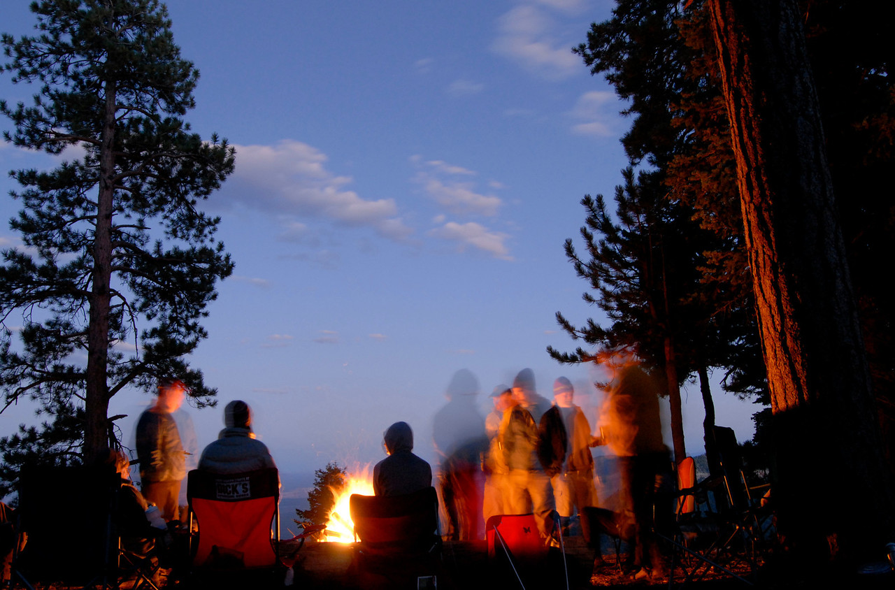 Campfire at the East Rim camp.
