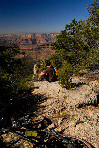 Taking a break on the Rainbow Rim Trail.