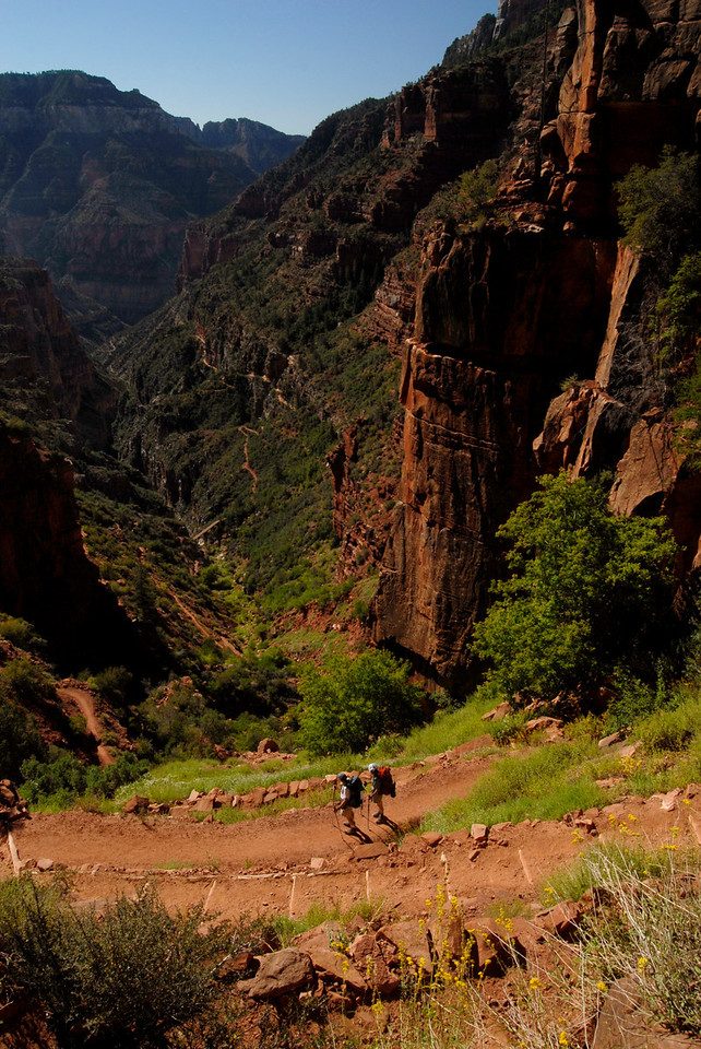 Hikers on the Kaibab Trail.