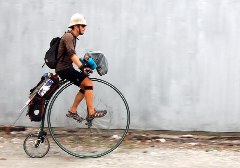 Joff Summerfield, riding his high-wheeler.