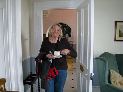 Diane having first cup of coffee in Dublin