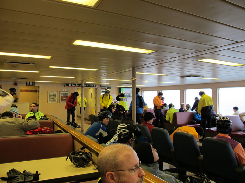 Cyclist on the ferry to Bainbridge Island.