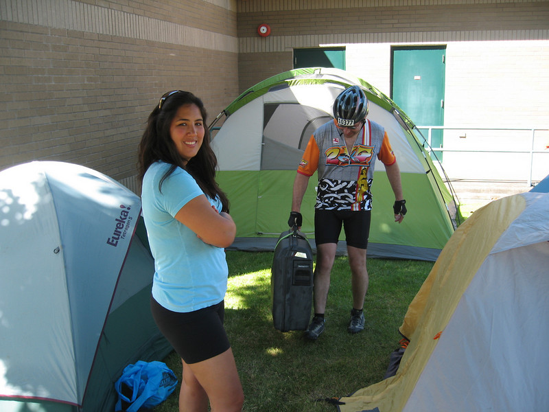 Bob forgot to bring a tent! Fortunately we had perfect weather and he slept under the stars between Nancy and my tent.