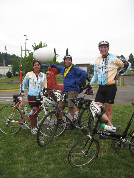 Nancy, Bob and I in front of the world's largest egg on Winlock, WA.