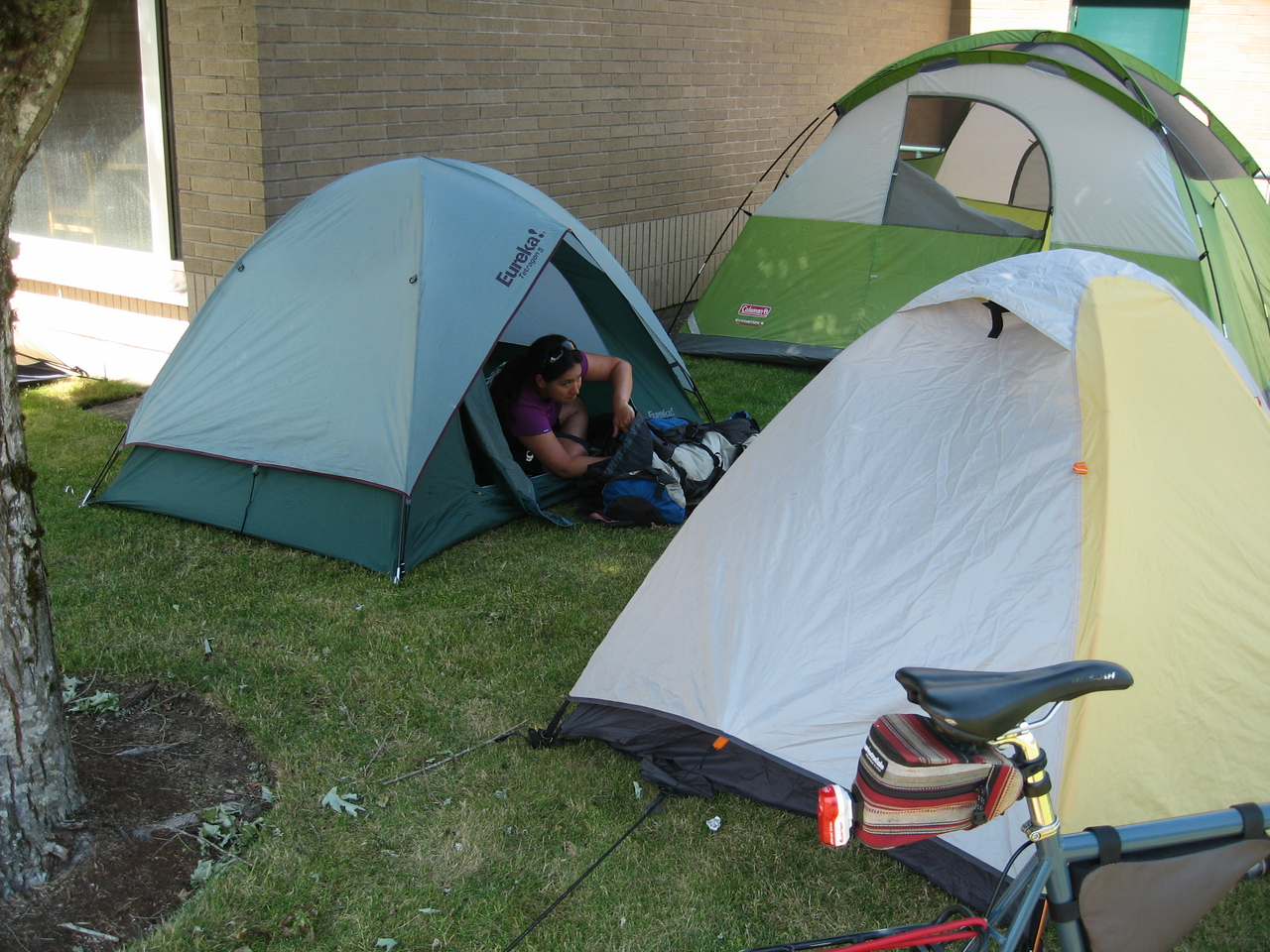 Camp in Centralia - Nancy getting set up in her tent.