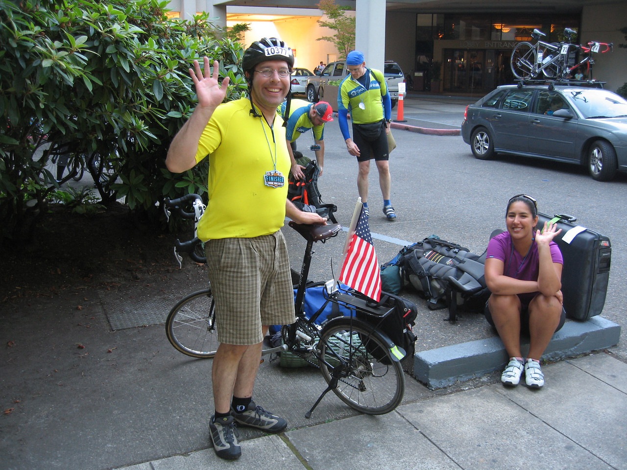 Bob & Nancy all smiles at the finish line - about to get the MAX to Brett's place for a welcome pint.