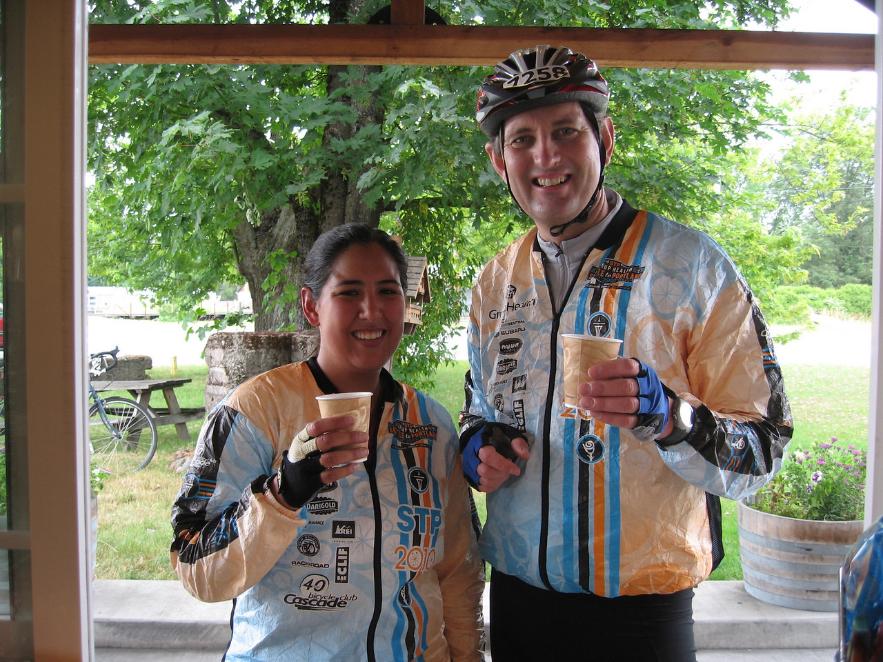 Nancy and Eugene at an emergence Espresso stop in Roy - day one of the ride. We are about 30 miles from completing the first day's ride.