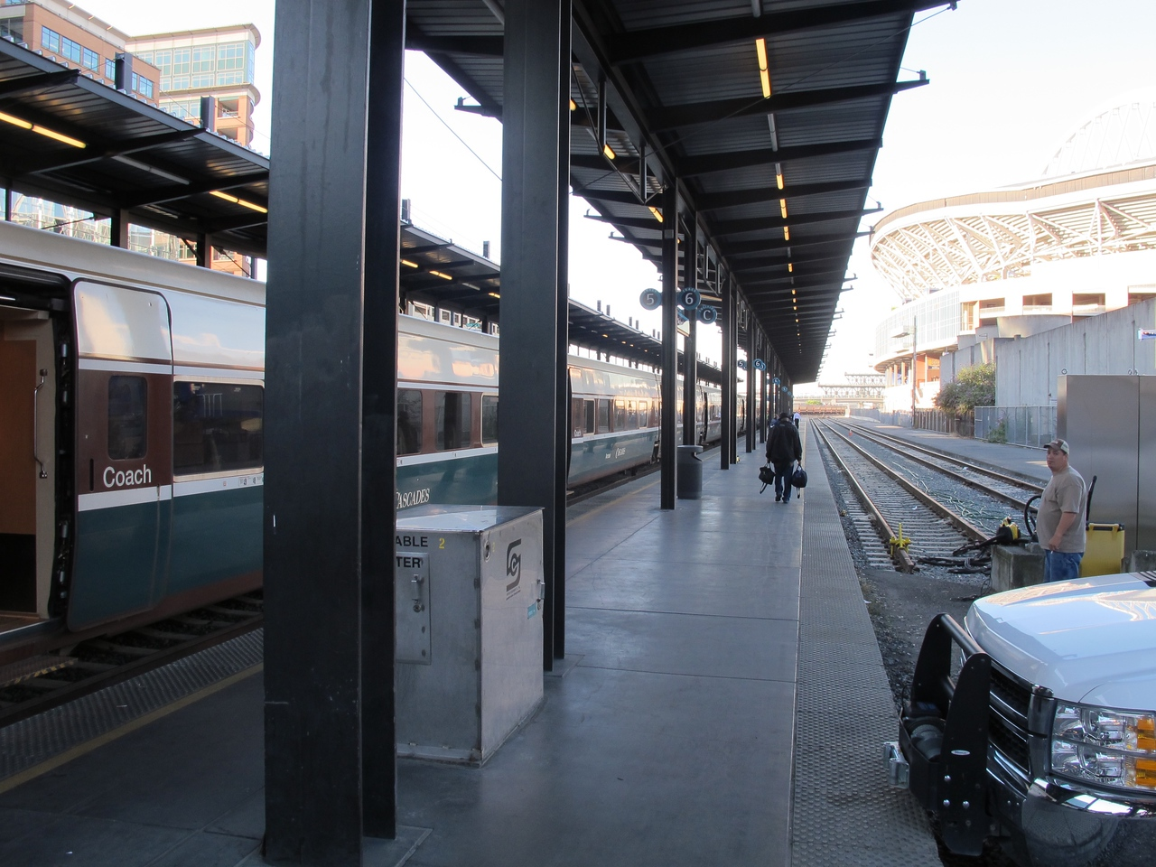 The Seattle station, boarding the train to Portand.