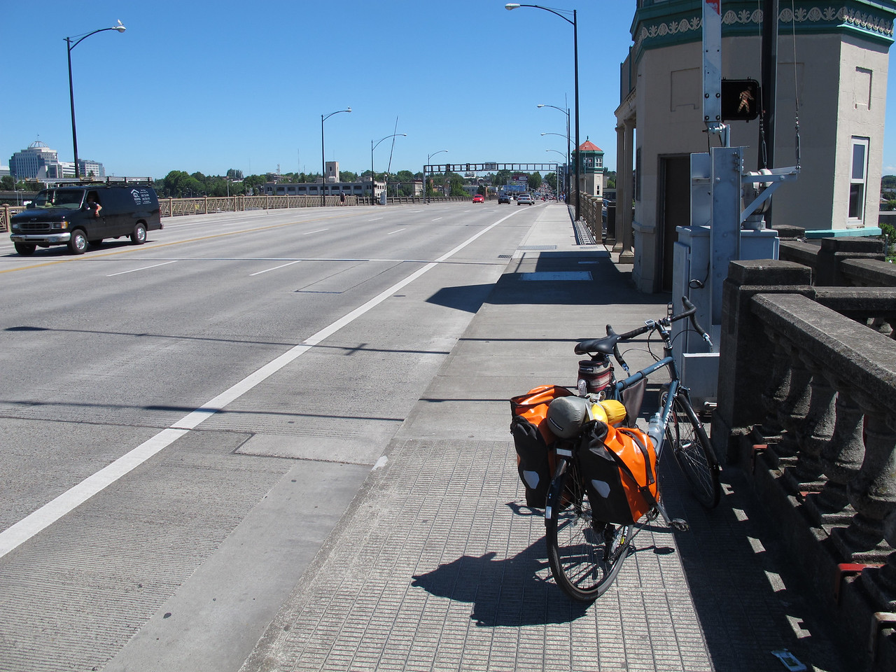 Crossing the  Willamette in Portland.
