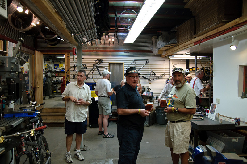 Ray & Lou touring Kent Erickson Bicycle. Kent made all of the Moots bicycles until 2005 when he started a new titanium bicycle company. These bikes are gorgeous.