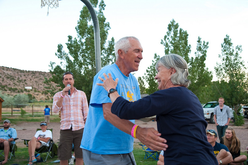 This couple was celebrating their 50th wedding anniversary by doing the Tour de Wyoming. The singer is their son, a professional entertainer.