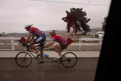 Joe and Brenda zoom to the start.