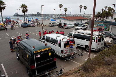Most of the fleet at the beach in Oceanside.