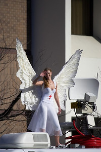 Specialized's Angel of the Tour greet the crowd at the Finish of Stage One.
