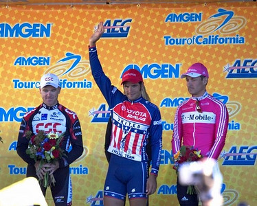 JJ Heado (Toyota United) wins the First Stage, followed by Olaf Pollack (T Mobile) and Stuart O'Grady (CSC).
