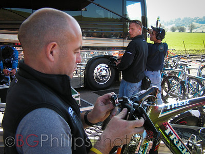 Geoff Brown, mechanic for what was the Discovery cycling team at the time. Taken in 2006. He's working on Ekimov's TT bike here.