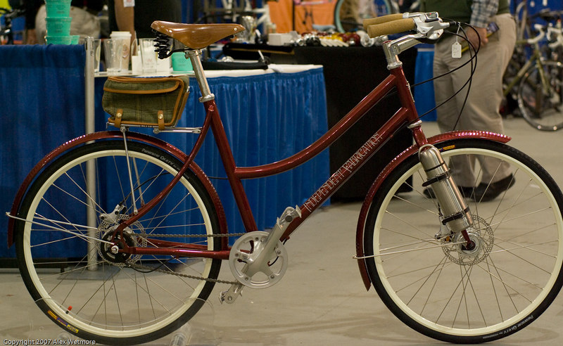 Independent Fabrications Mixte.  Custom thermos mount on the front fork.  No lights