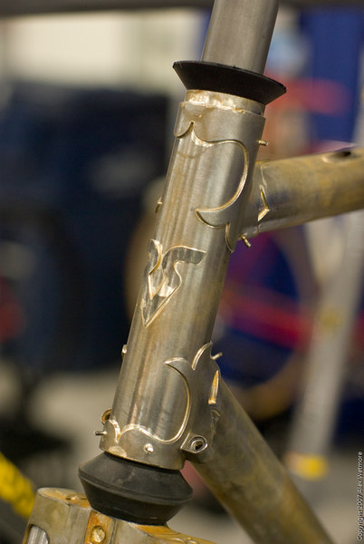 An unfinished headtube on a Richard Sachs frame.