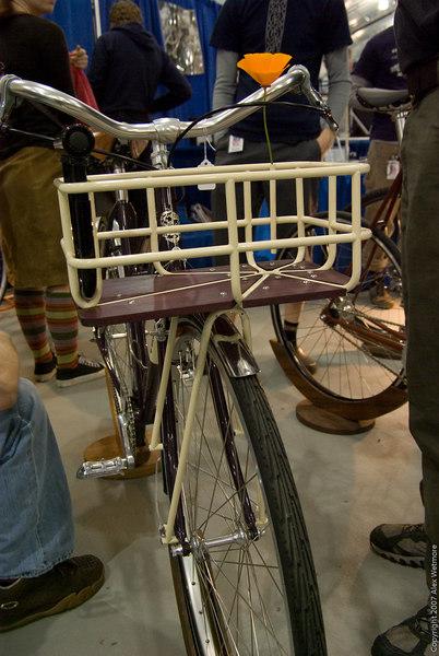 An artful front basket.