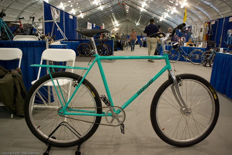 Commuter with integrated rear rack.  The rack is designed to hold a milk crate.
