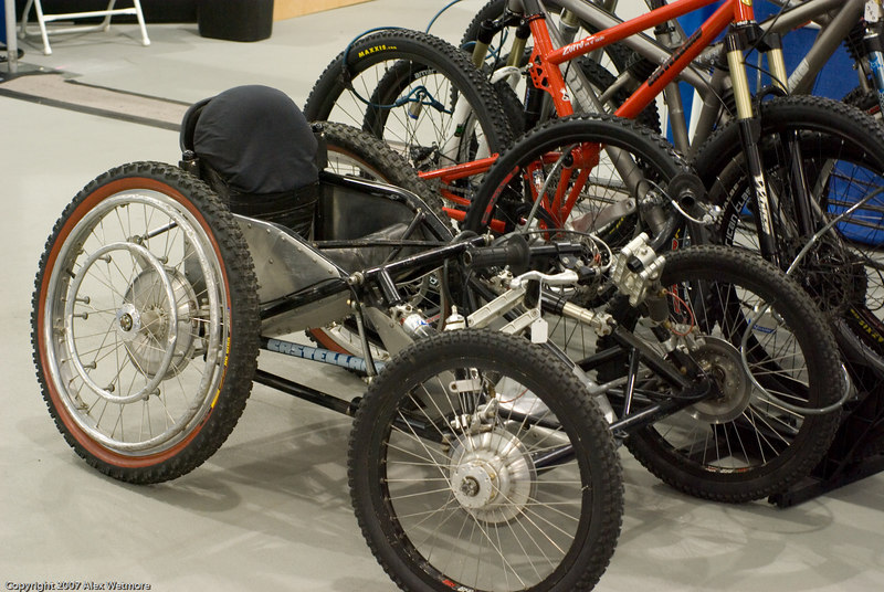 A four wheeled downhill vehicle