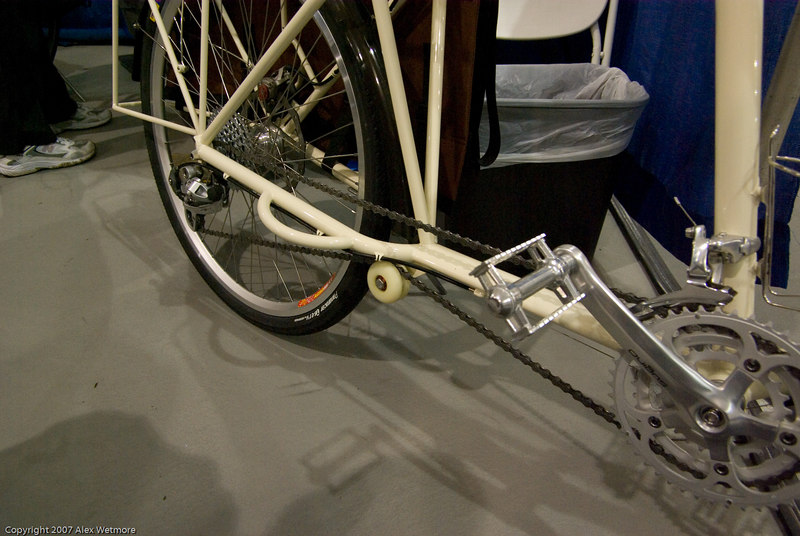 An idler makes a big different in chain tension on a long chain like this, but few cargo bikes include this detail
