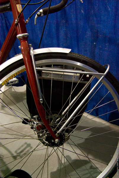 Front lowrider rack.  This design could be used on bikes without midfork eyelets, just complete the triangle back down to the dropout.