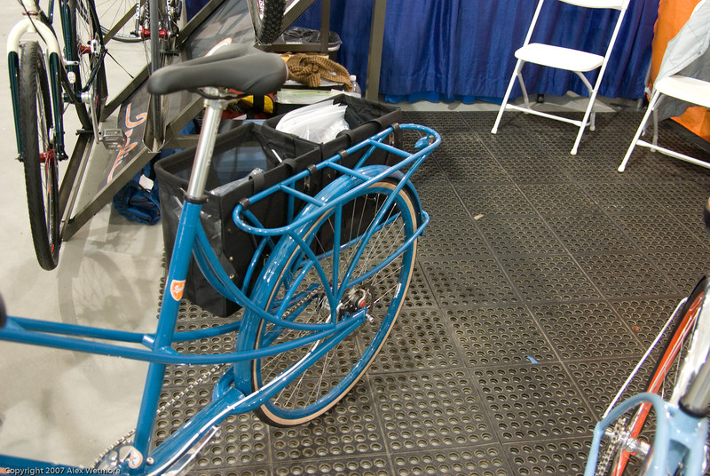 An extended rear rack on an Inglis commuter/cargo bike.