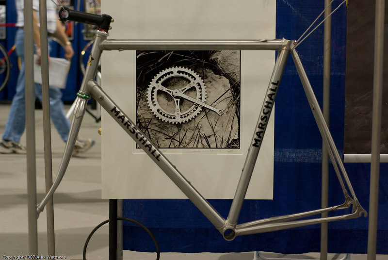 Custom stainless frames from Germany.  The frames are made with tubing similar to the new Reynolds 953.  The builder has been making them for 12 years and has a large supply of stainless fork blades.