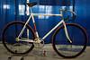 Moyer track bike.  Stainless head tube and top tube guard.