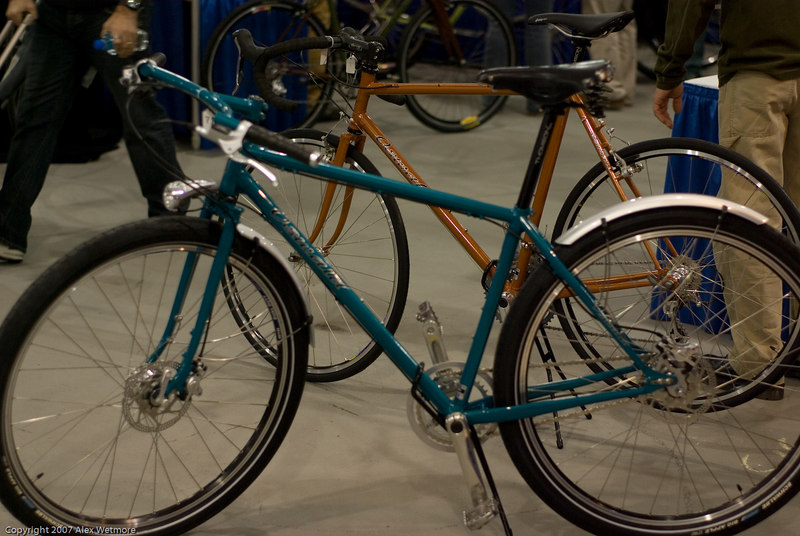 Oswald's Alfine bike.  Fenders, but no racks.  The builder thought that a rider would probably use a messenger bag.
