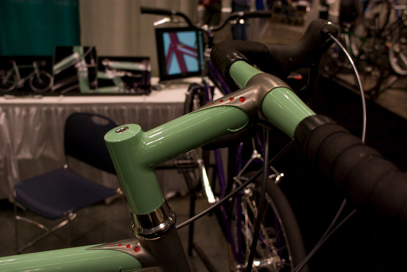 Notice the lack of clamp on the threadless stem.  It is held in place with an internal wedge.