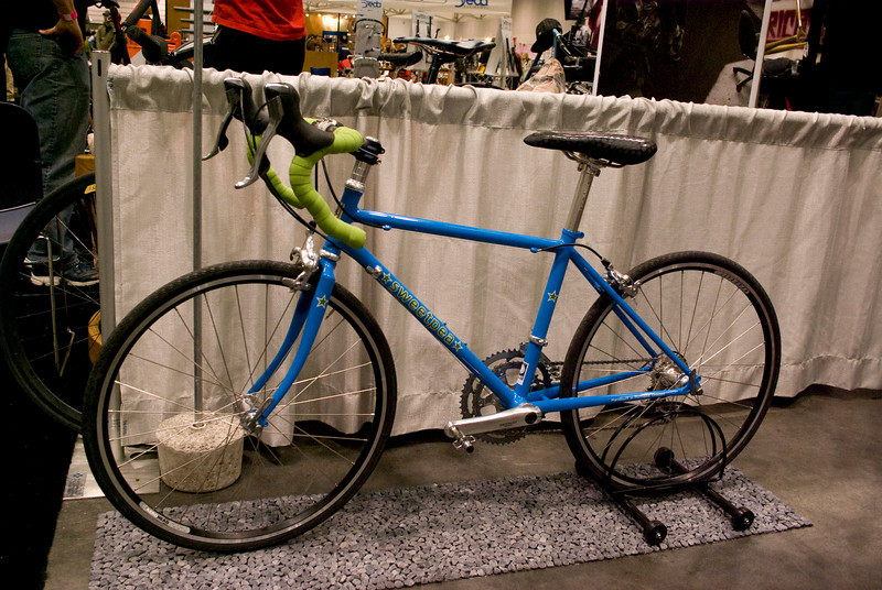 """24"""" wheels, built for a petite woman.  I really like Sweetpea's bikes, they are some of the most elegant women's bicycles that I've seen.  I think this frame was just over 40cm?"""