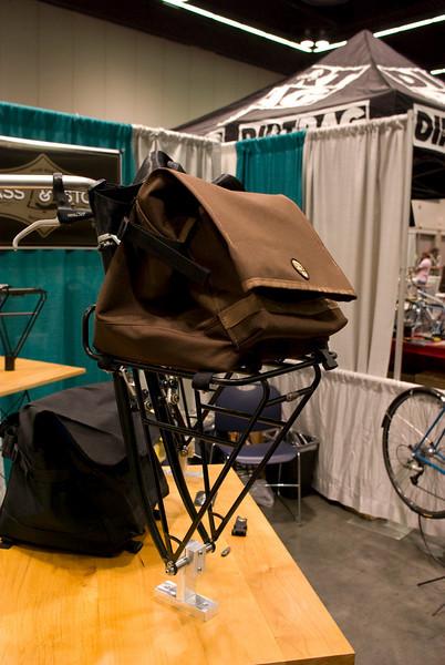 Custom bag for porteur racks.  Production porteur rack that fits most forks.