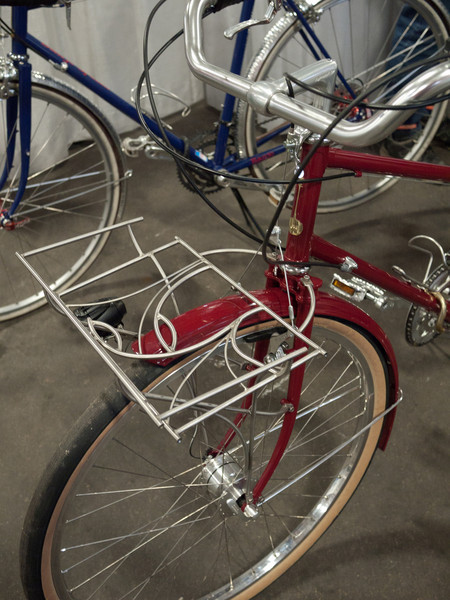 """Ahern Rogers from Banjo Bikes was showing this very nice mixte.  The racks are by his partner Leah (who I think used to go by """"The Rack Lady"""")"""