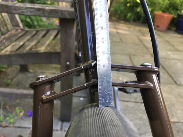 Switchback Hill (650B) clearance at seatstay bridge.  About 11mm to the bolt head.