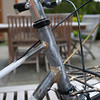"Fillet brazed headtube.  <br /> <br /> Christine doesn't like the visual bulk of the 1 1/8"" threadless spacers along with the thin lines of the fork blades.  I can't say I blame her."