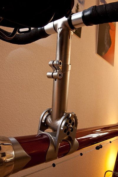 One design criteria was maximum adjustability for the stoker's handlebar. Notice the heart in the stem.