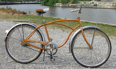 Schwinn Jaguar s/n ea17436  2-speed kick-back coaster brake. All original, including reflectors and tires; missing gas tank and front rack.  Minimum bid: $300 Value: High!  Includes all benefits of any Ohio City Bicycle Co-op bike-purchase ($60 value).