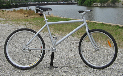 1 of 2 shaft-drive coaster brake bikes (other is black). Prototypes, hand made in Taiwan.  Minimum bid $100: parts are worth $150. Includes all benefits of any Ohio City Bicycle Co-op bike-purchase ($60 value).