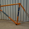 12/07/09: Finally unwrapped, the Master showed off its brilliant Molteni color scheme.<br /> <br /> Planned build-kit: Record Ergopower, front CT & rear derailleurs and square-taper BB.  Chorus CT crank.  KCNC brakes.  3TTT stem with Nitto Soba bars.  Flite saddle.  King cages.