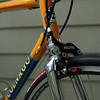"""KCNC CB1 brakes with Koolstop """"salmon"""" pads and Vittoria Open Corsa CX tire.<br /> <br /> I've crossed the derailleur cable at the downtube to make a gentler bend for the derailleur casing."""