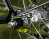 Detail of rear dropout and Campagnolo Record skewers.  The semi-horizontal dropout is Della Santa's own.  Also visible is the mounting for the rear fender strut.