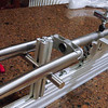 A view showing the fork crown and steerer end of the jig.