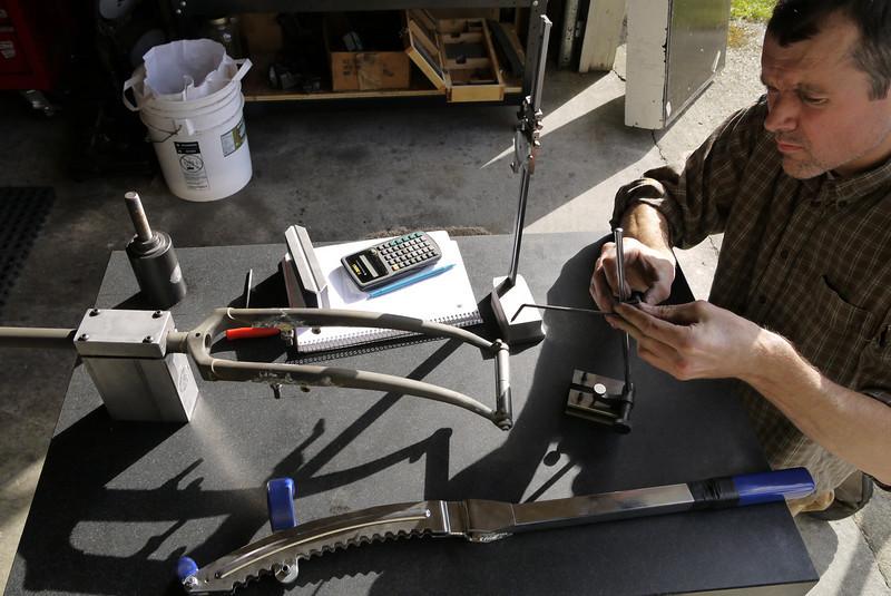 Checking for fork blade alignment (same fork rake on each blade)