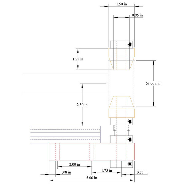 """The bottom bracket post.  It fits onto the end of 80-20 1010 extrusion and is designed for a 2.5"""" working height (just like the tube holding blocks).  There is an adjustable width split collar for small height adjustments."""