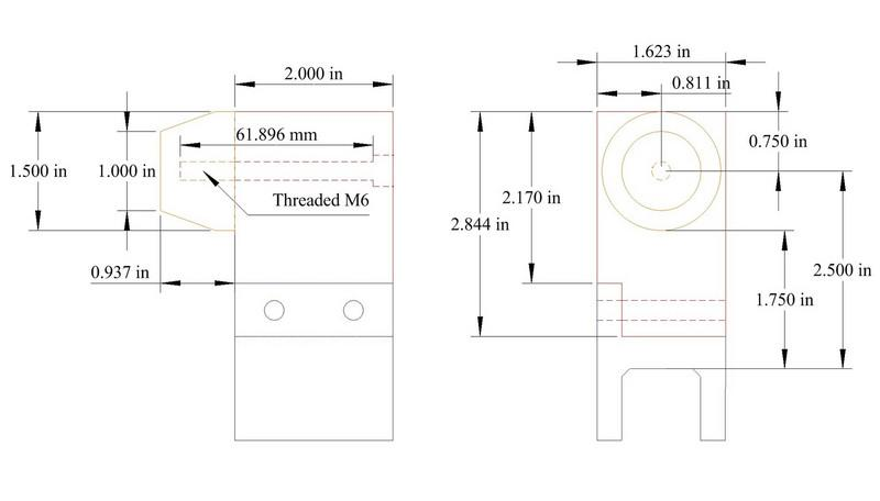 """This is a tube holding tower.  There will be 3 of them, one at each end of the head tube and one at the top of the seat tube.  The blocks are built on 8020 linear bearings, model 6716 or 6715.<br /> <br /> The center of the cone is exactly 2.5"""" from the top of the 8020 extrusion."""