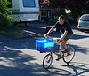 Alistair gives the bike a spin.  This cargo box is temporary until I build a rack.